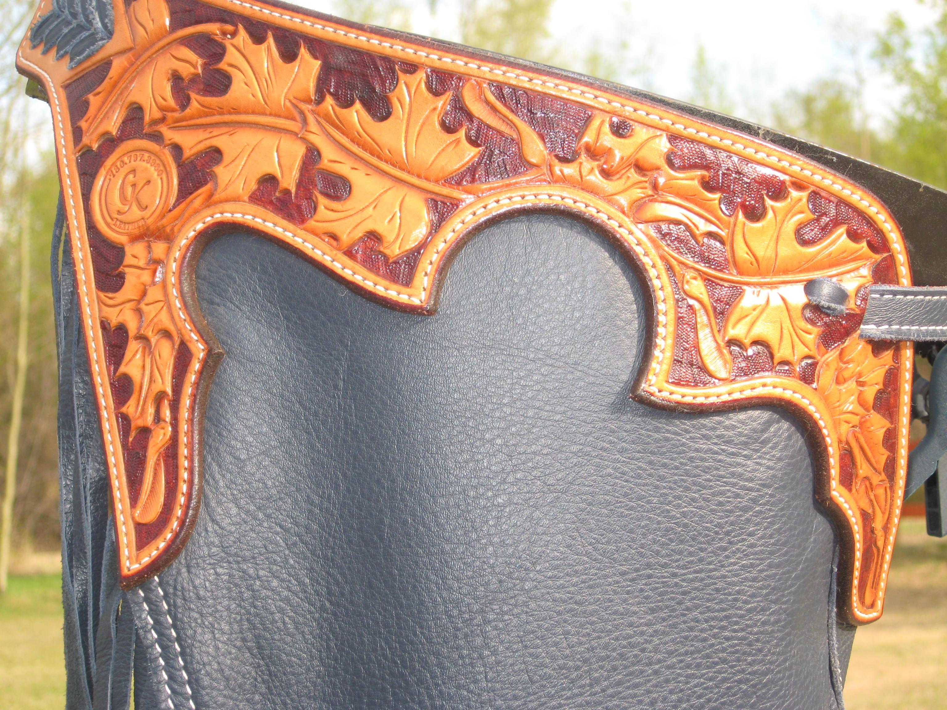 Reining chap with maple leaf carving ck leather